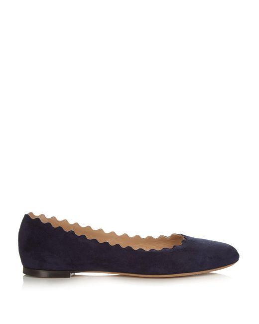 Chloé - Blue Lauren Scallop-edged Leather Flats - Lyst