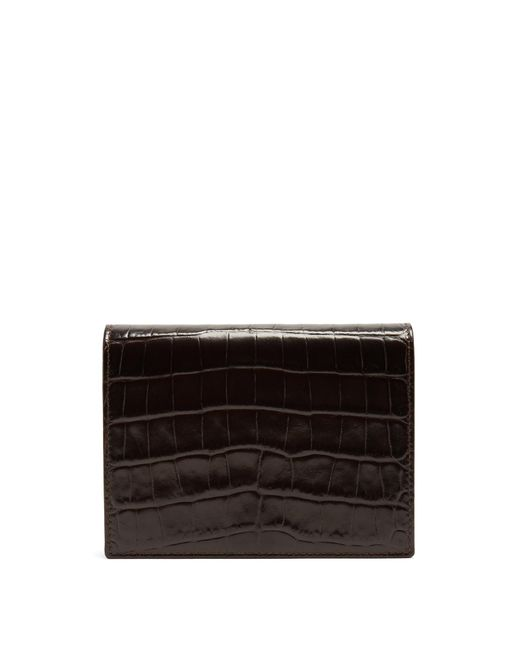Smythson | Brown Mara Crocodile-effect Leather Bridge Card Case for Men | Lyst