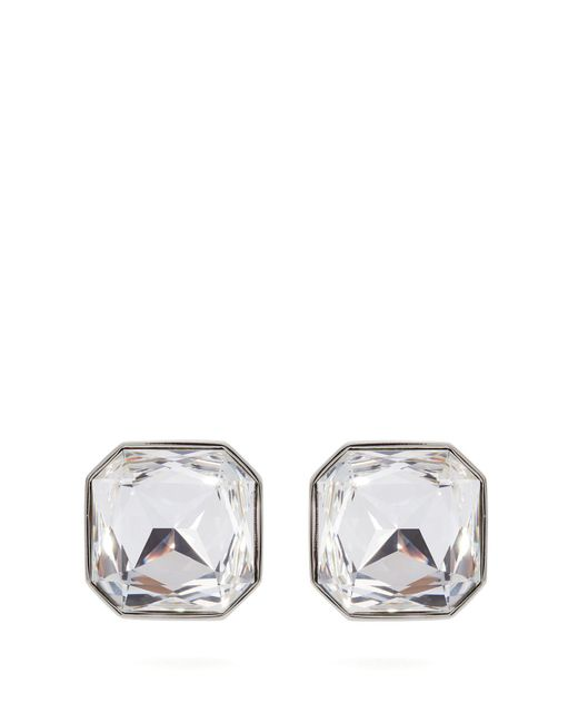 Saint Laurent - Metallic Crystal Arrow Clip On Earrings - Lyst