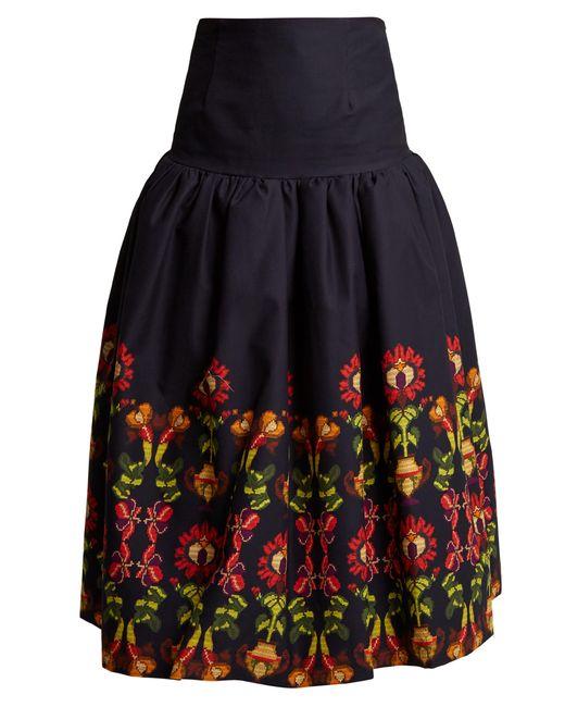 Stella Jean - Multicolor Floral Print Gathered Cotton Blend Midi Skirt - Lyst