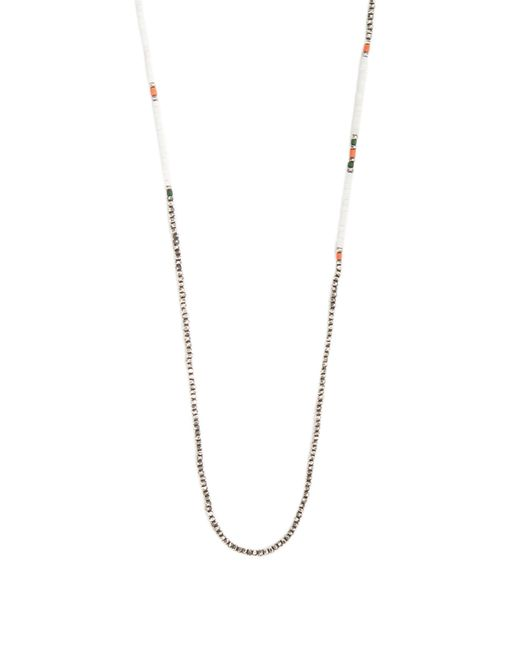 M. Cohen | Metallic Bead-embellished Silver Necklace for Men | Lyst