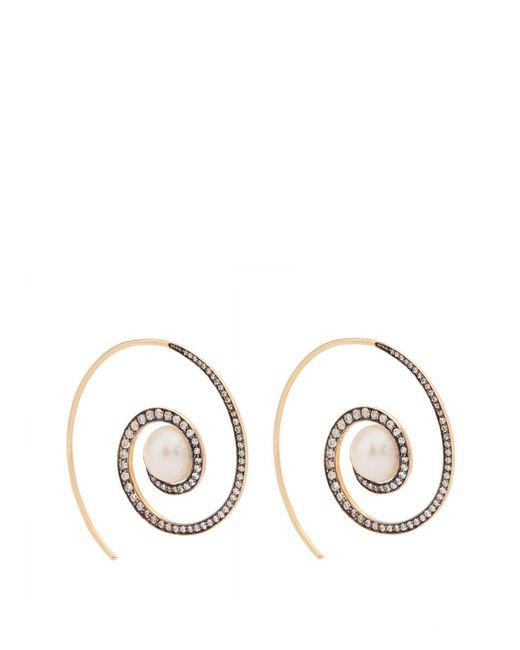 Noor Fares - Metallic Spiral Moon 18kt Gold, Diamond & Pearl Earrings - Lyst