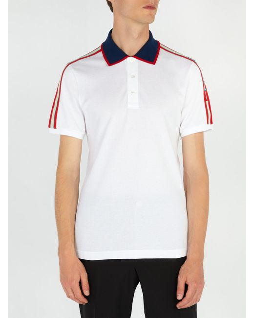 e1d35cdb4 ... Gucci - White Cotton Piqué Polo Shirt for Men - Lyst ...