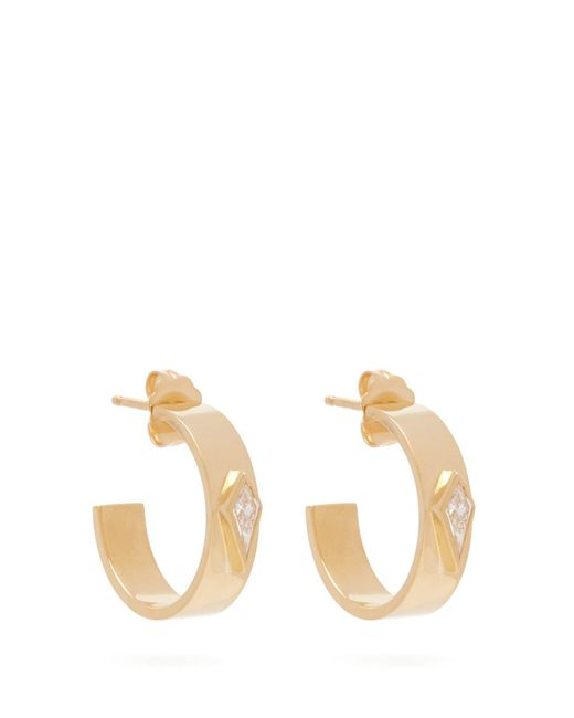 Azlee - Metallic Kite 18kt Gold & Diamond Hoop Earrings - Lyst