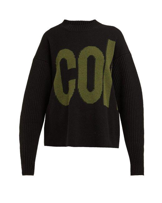Colville Black Logo Intarsia Wool Sweater