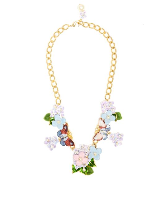 Dolce & Gabbana | Multicolor Hydrangea And Butterfly-embellished Necklace | Lyst
