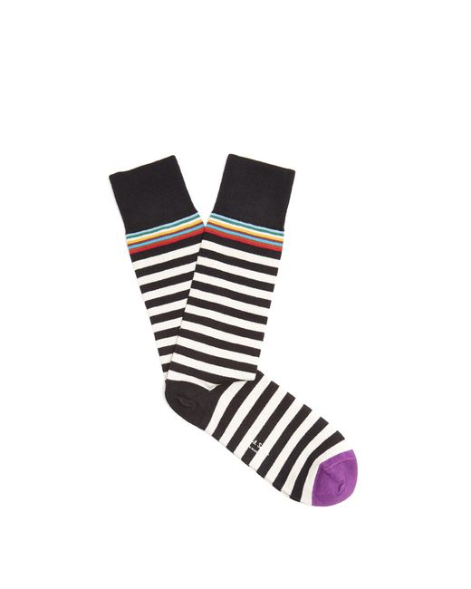Paul Smith | Black Contrasting-striped Cotton-blend Socks for Men | Lyst