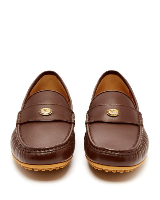 a493abd4d53e ... Gucci - Brown Kanye Leather Loafers for Men - Lyst ...