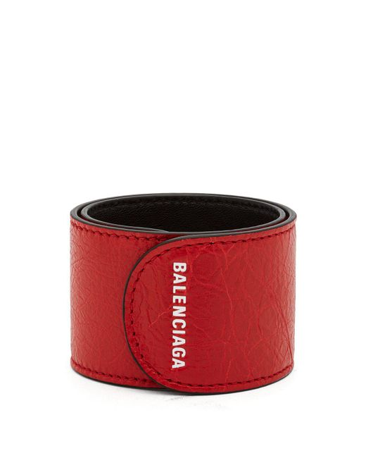 Balenciaga - Red Cycle Logo Print Snap Bracelet for Men - Lyst
