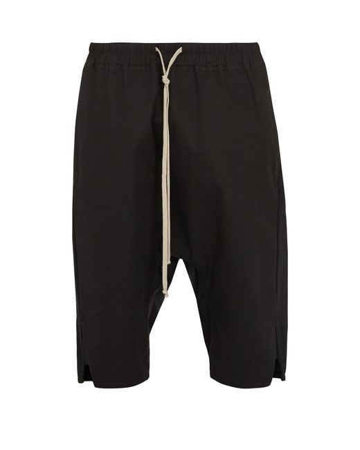 Rick Owens   Black Dropped-crotch Cotton-gabardine Shorts for Men   Lyst