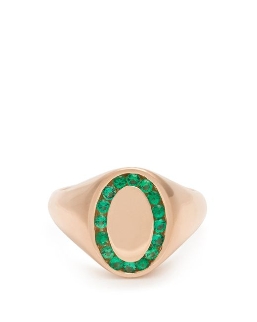 Jessica Biales | Green Emerald & Pink-gold Ring | Lyst