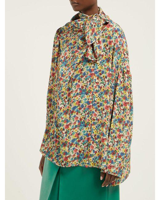 62133fa3a2f0 ... Balenciaga - Multicolor Floral Print Asymmetric Silk Crepe Blouse - Lyst  ...