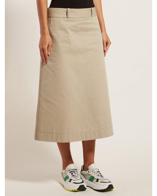 cc7203cf1 ... Bottega Veneta - Natural Back Button A Line Cotton Skirt - Lyst ...
