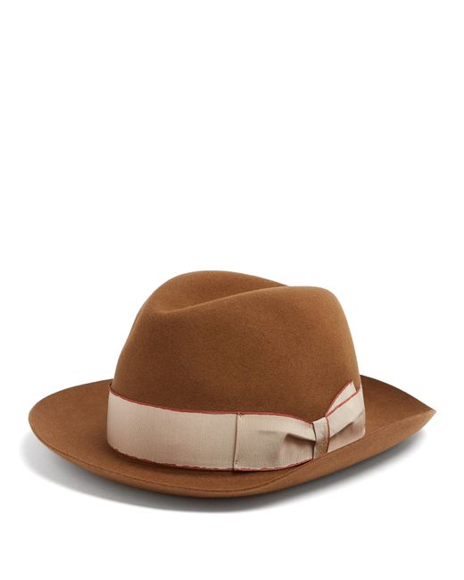 Borsalino - Brown Alessandria Contrast-band Hat for Men - Lyst