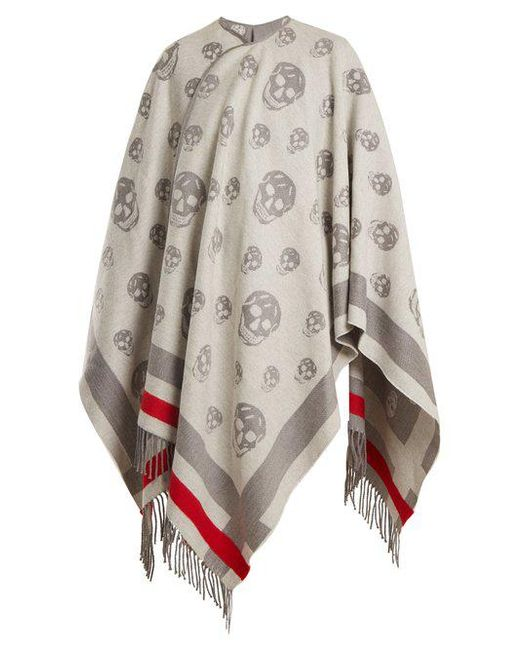 Alexander McQueen - Gray Skull Wool And Cashmere-blend Cape - Lyst
