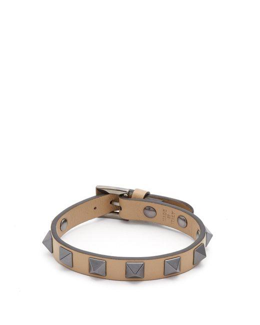 Valentino | Brown Rockstud-embellished Leather Bracelet for Men | Lyst