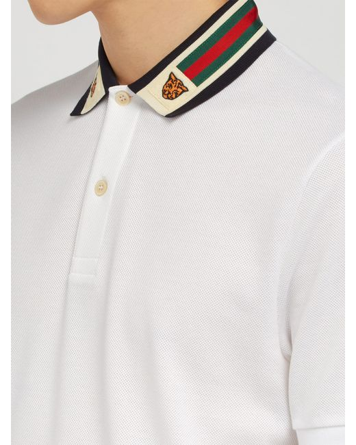 62222dd84 Gucci Striped Collar Polo Shirt in White for Men - Save 48% - Lyst