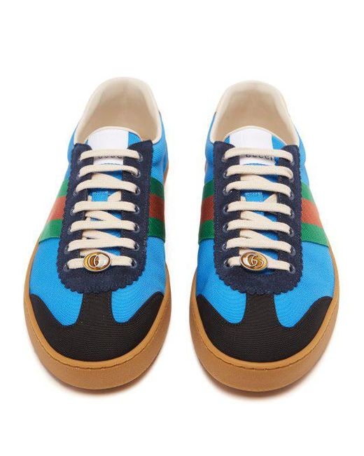 9398f11c47e ... Gucci - Blue Web Nylon And Suede Trainers for Men - Lyst ...