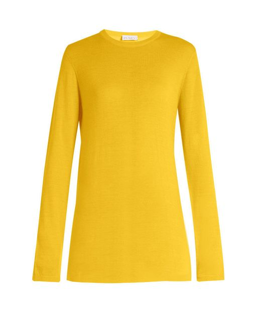 Raey - Yellow Long Line Fine Knit Cashmere Sweater - Lyst