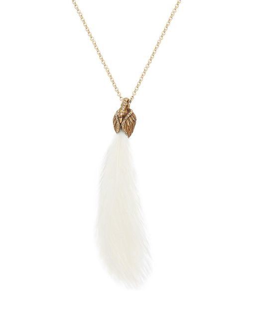 Lanvin - White Feather-embellished Swan Necklace - Lyst