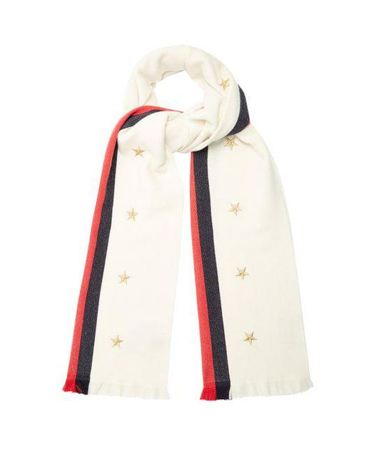 Star and Web-striped wool-blend scarf Gucci WDIAUnG