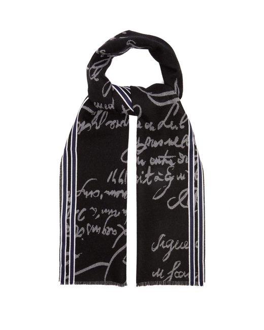 Berluti - Black Scritto Wool Scarf for Men - Lyst
