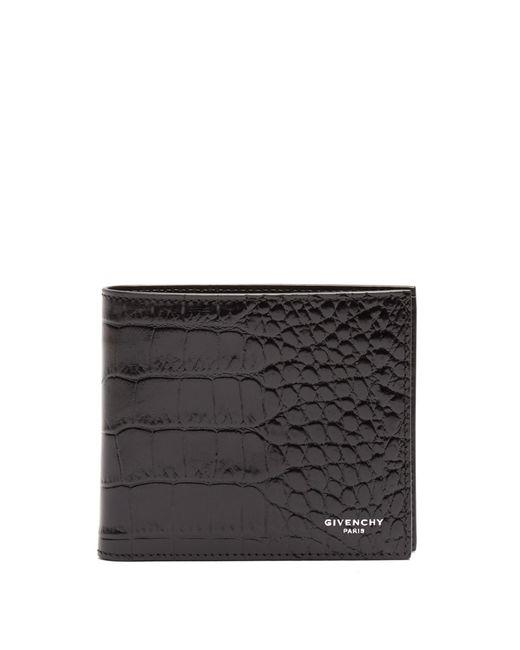 Givenchy | Black Bi-fold Crocodile-effect Leather Wallet for Men | Lyst