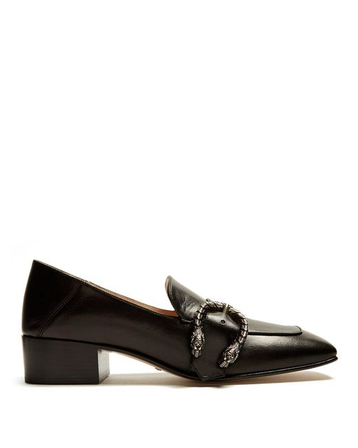 Gucci - Black Dionysus-buckle Leather Loafers - Lyst