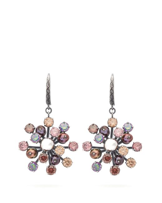 Bottega Veneta - Multicolor Crystal Floral Drop Earrings - Lyst