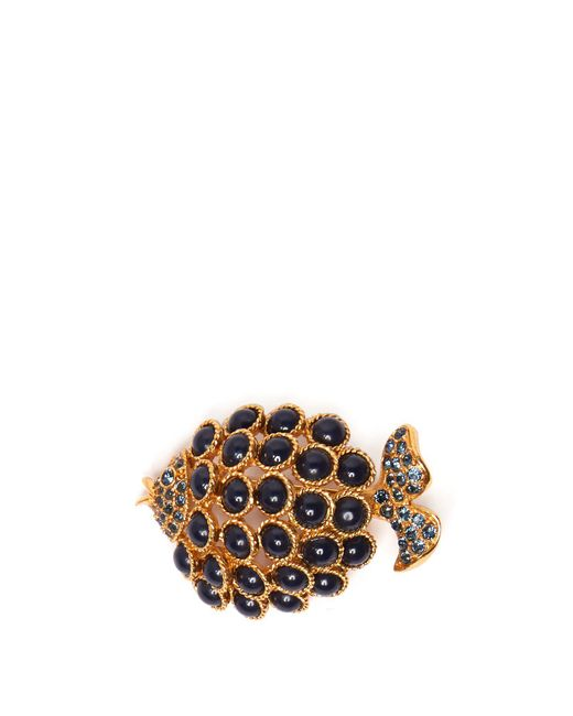 Oscar de la Renta - Blue Stone-embellished Fish Brooch - Lyst