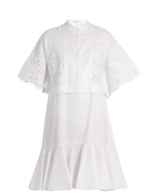 Erdem | White Kathy Half-placket Broderie-anglaise Dress | Lyst