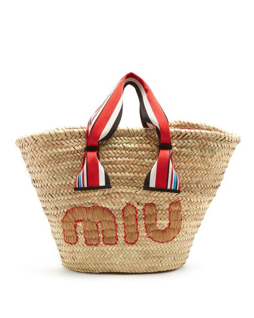 Miu Miu - Multicolor Logo-embroidered Basket Bag - Lyst
