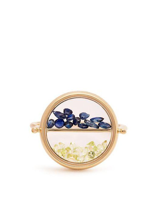 Aurelie Bidermann - Multicolor - Sapphire, Peridot & Yellow Gold Ring - Womens - Yellow Gold - Lyst