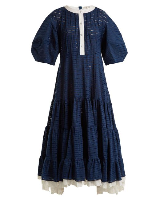 Natasha Zinko - Blue Broderie Anglaise Puff Sleeved Cotton Dress - Lyst