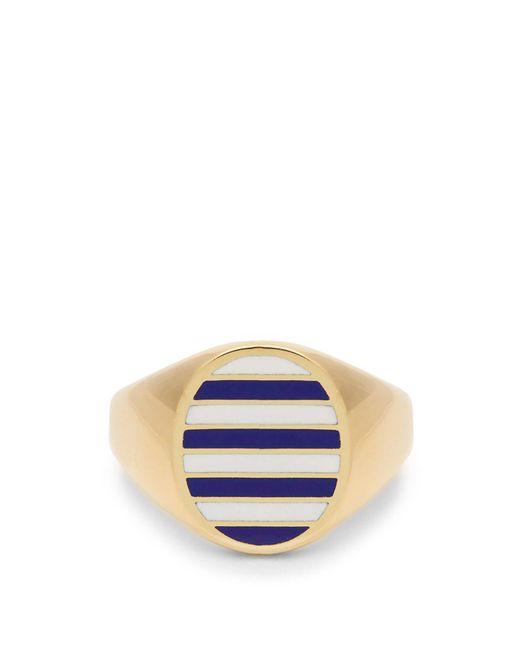 Jessica Biales - Blue Enamel & Yellow Gold Ring - Lyst