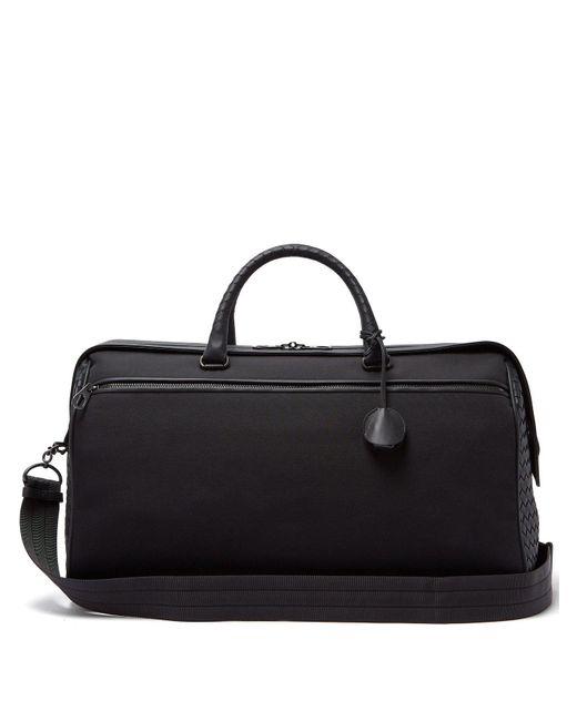 Bottega Veneta - Black Canvas And Leather Holdall for Men - Lyst