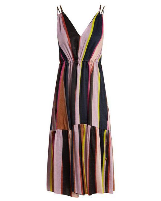 Apiece Apart - Multicolor Daphne Striped Linen And Silk-blend Dress - Lyst
