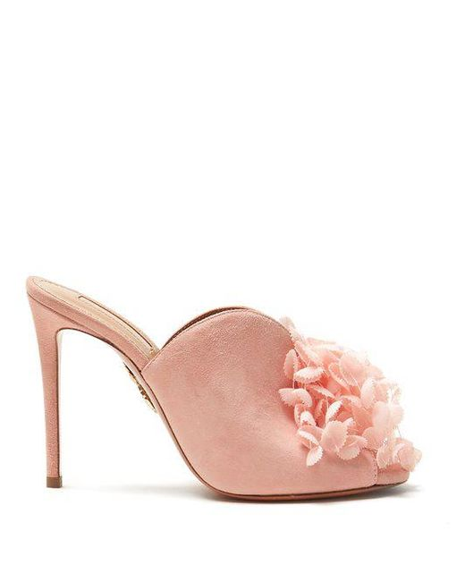 Lily Of The Valley 105 floral-embellished mules Aquazzura Discount Official Collections Sale Online Outlet Reliable Lowest Price Marketable Cheap Online aDoqq