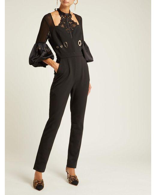 943fb51c0f10 ... Self-Portrait - Black Balloon Sleeve Lace And Crepe Jumpsuit - Lyst ...