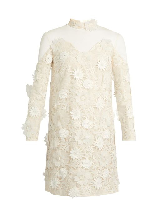 Huishan Zhang | White Petal Guipure-lace Dress | Lyst