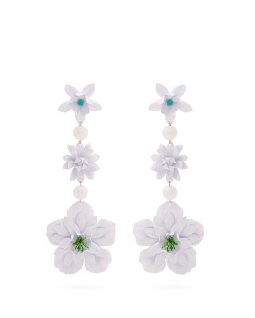 Isabel Marant - White Aloha Flower And Bead-embellished Earrings - Lyst