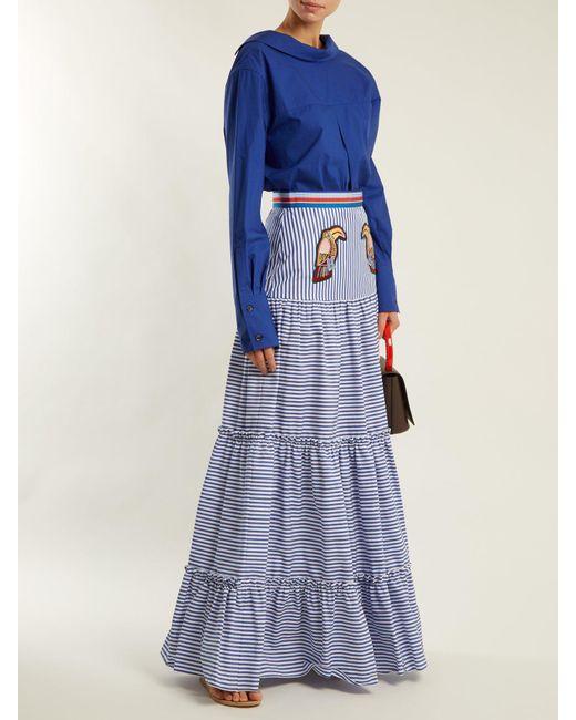 b503b10497 ... Stella Jean - Blue Tiered Striped Maxi Skirt - Lyst ...
