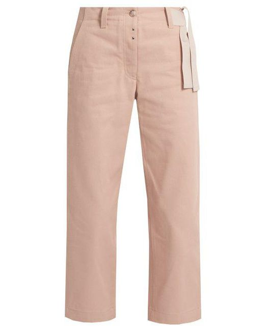 MM6 by Maison Martin Margiela - Pink Waist-tie Wide-leg Cropped Jeans - Lyst