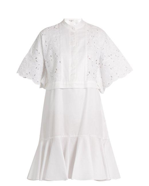 Erdem - White Kathy Half Placket Broderie Anglaise Dress - Lyst