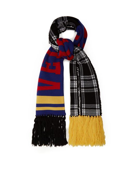 Versace - Blue Checked Logo Intarsia Wool Scarf - Lyst