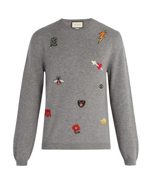 8bdad6c8fa7 Gucci - Gray Embroidered Wool Sweater for Men - Lyst ...