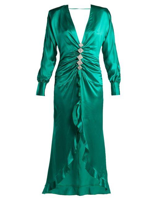 Alessandra Rich - Green Embellished Long Asymmetric Dress - Lyst