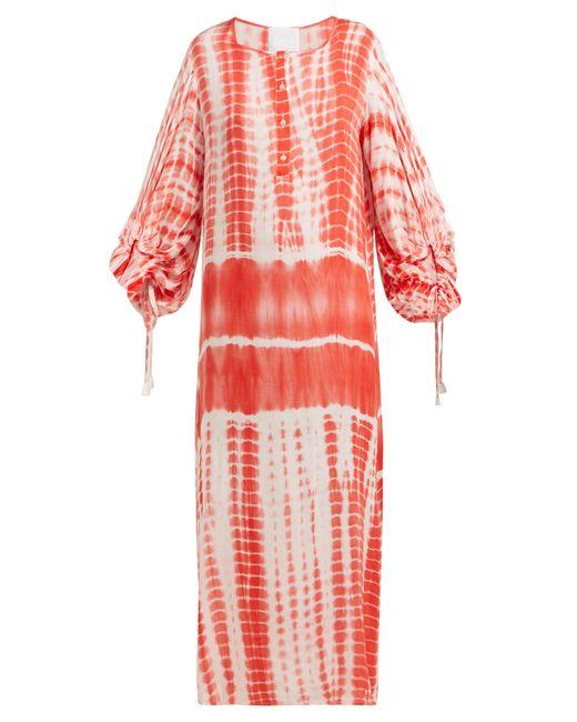 LOVE Binetti - Red Good Vibrations Tie Dye Cotton Kaftan - Lyst
