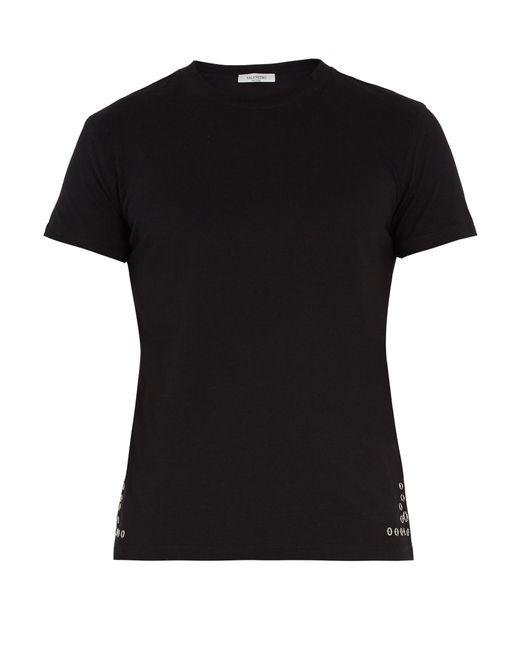 Valentino   Black Eyelet-embellished Cotton-jersey T-shirt for Men   Lyst