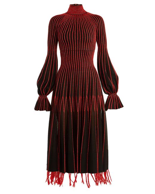 Alexander McQueen - Red Contrast Stitching High Neck Silk Dress - Lyst
